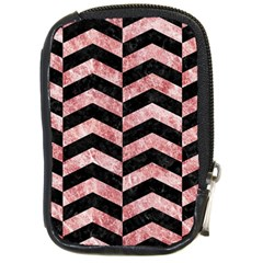 Chevron2 Black Marble & Red & White Marble Compact Camera Leather Case