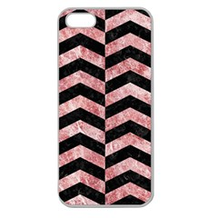 Chevron2 Black Marble & Red & White Marble Apple Seamless Iphone 5 Case (clear)