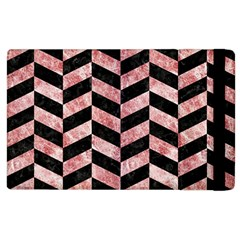 Chevron1 Black Marble & Red & White Marble Apple Ipad 2 Flip Case