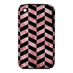 Chevron1 Black Marble & Red & White Marble Apple Iphone 3g/3gs Hardshell Case (pc+silicone)
