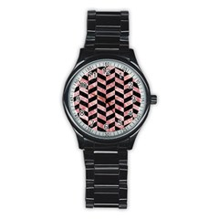Chevron1 Black Marble & Red & White Marble Stainless Steel Round Watch