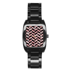 Chevron1 Black Marble & Red & White Marble Stainless Steel Barrel Watch