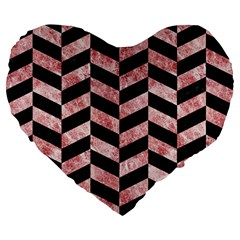 Chevron1 Black Marble & Red & White Marble Large 19  Premium Flano Heart Shape Cushion