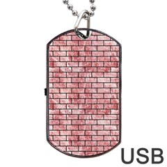 Brick1 Black Marble & Red & White Marble (r) Dog Tag Usb Flash (one Side)