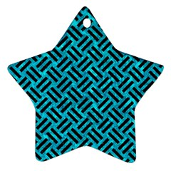 Woven2 Black Marble & Turquoise Marble (r) Ornament (star)