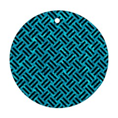 Woven2 Black Marble & Turquoise Marble (r) Round Ornament (two Sides)