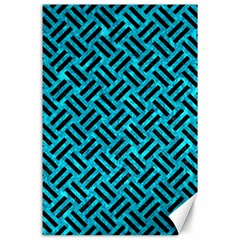 Woven2 Black Marble & Turquoise Marble (r) Canvas 24  X 36