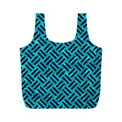 Woven2 Black Marble & Turquoise Marble (r) Full Print Recycle Bag (m)