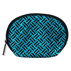 Woven2 Black Marble & Turquoise Marble (r) Accessory Pouch (medium)