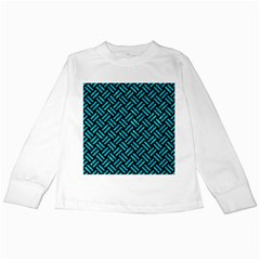 Woven2 Black Marble & Turquoise Marble Kids Long Sleeve T Shirt
