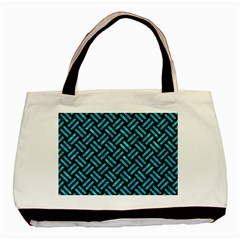 Woven2 Black Marble & Turquoise Marble Basic Tote Bag