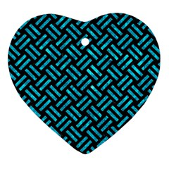Woven2 Black Marble & Turquoise Marble Heart Ornament (two Sides)