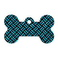 Woven2 Black Marble & Turquoise Marble Dog Tag Bone (two Sides)