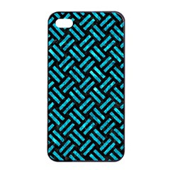 Woven2 Black Marble & Turquoise Marble Apple Iphone 4/4s Seamless Case (black)