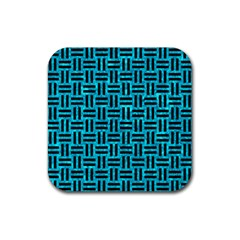 Woven1 Black Marble & Turquoise Marble (r) Rubber Square Coaster (4 Pack)