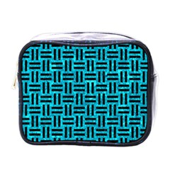 Woven1 Black Marble & Turquoise Marble (r) Mini Toiletries Bag (one Side)