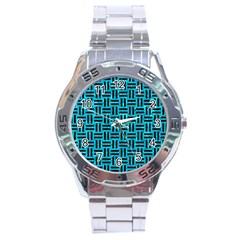 Woven1 Black Marble & Turquoise Marble (r) Stainless Steel Analogue Watch
