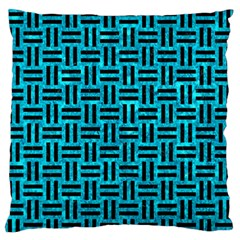 Woven1 Black Marble & Turquoise Marble (r) Standard Flano Cushion Case (two Sides)