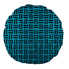 Woven1 Black Marble & Turquoise Marble (r) Large 18  Premium Flano Round Cushion