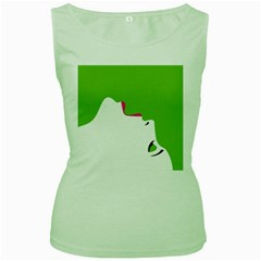 Image Of A Woman s Face Green White Women s Green Tank Top