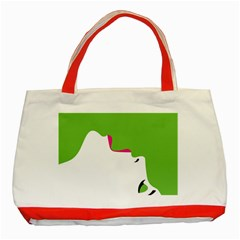 Image Of A Woman s Face Green White Classic Tote Bag (red)