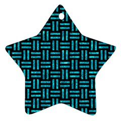 Woven1 Black Marble & Turquoise Marble Star Ornament (two Sides)