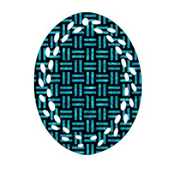 Woven1 Black Marble & Turquoise Marble Oval Filigree Ornament (two Sides)