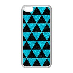 Triangle3 Black Marble & Turquoise Marble Apple Iphone 5c Seamless Case (white)
