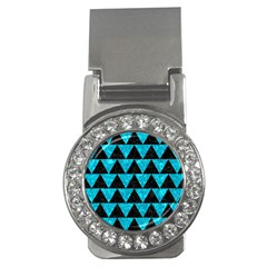 Triangle2 Black Marble & Turquoise Marble Money Clip (cz)