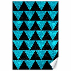 Triangle2 Black Marble & Turquoise Marble Canvas 24  X 36