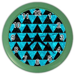 Triangle2 Black Marble & Turquoise Marble Color Wall Clock