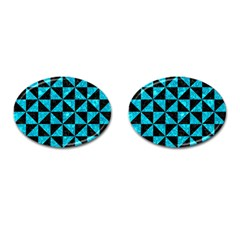 Triangle1 Black Marble & Turquoise Marble Cufflinks (oval)