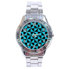 Triangle1 Black Marble & Turquoise Marble Stainless Steel Analogue Watch
