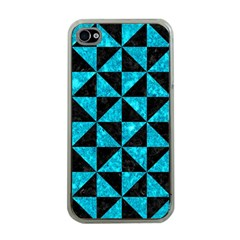 Triangle1 Black Marble & Turquoise Marble Apple Iphone 4 Case (clear)