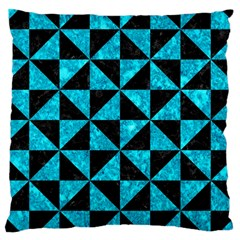 Triangle1 Black Marble & Turquoise Marble Large Cushion Case (two Sides)