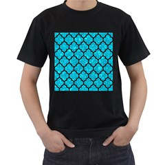 Tile1 Black Marble & Turquoise Marble (r) Men s T Shirt (black) (two Sided)