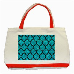 Tile1 Black Marble & Turquoise Marble (r) Classic Tote Bag (red)