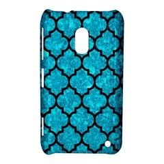 Tile1 Black Marble & Turquoise Marble (r) Nokia Lumia 620 Hardshell Case