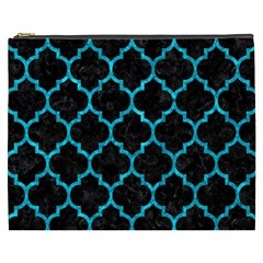 Tile1 Black Marble & Turquoise Marble Cosmetic Bag (xxxl)