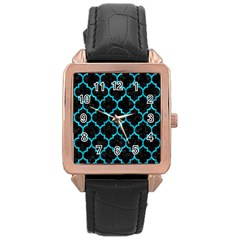 Tile1 Black Marble & Turquoise Marble Rose Gold Leather Watch