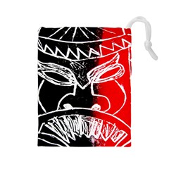 Mask Face Red Black Drawstring Pouches (large)