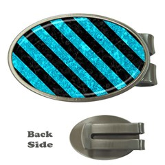 Stripes3 Black Marble & Turquoise Marble (r) Money Clip (oval)