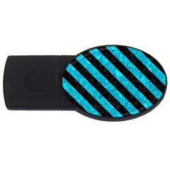Stripes3 Black Marble & Turquoise Marble (r) Usb Flash Drive Oval (4 Gb)