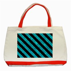 Stripes3 Black Marble & Turquoise Marble (r) Classic Tote Bag (red)