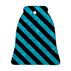 Stripes3 Black Marble & Turquoise Marble (r) Ornament (bell)