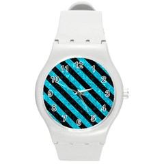 Stripes3 Black Marble & Turquoise Marble (r) Round Plastic Sport Watch (m)