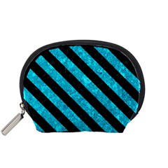 Stripes3 Black Marble & Turquoise Marble (r) Accessory Pouch (small)