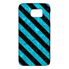 Stripes3 Black Marble & Turquoise Marble (r) Samsung Galaxy S6 Hardshell Case