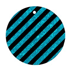 Stripes3 Black Marble & Turquoise Marble Round Ornament (two Sides)