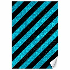Stripes3 Black Marble & Turquoise Marble Canvas 12  X 18